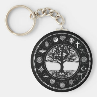 World Religions Black and White Tree Keychain