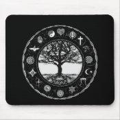 World Religions Black and White Tree Mouse Pad (<em>$11.60</em>)