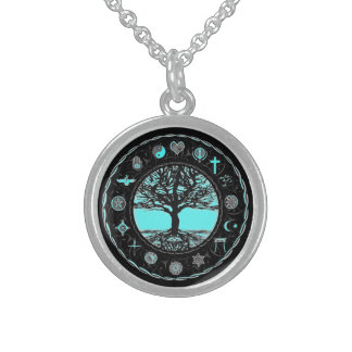 World Religions Black and White Tree Personalized Necklace