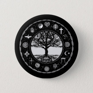 World Religions Black and White Tree Pinback Button