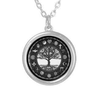 World Religions Black and White Tree Silver Plated Necklace