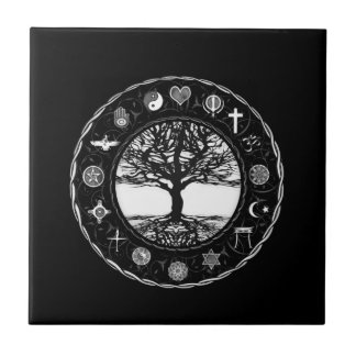 World Religions Black and White Tree Tile