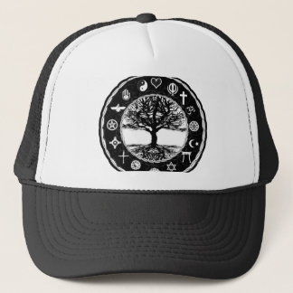 World Religions Black and White Tree Trucker Hat