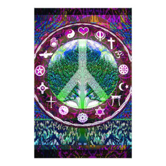 World Religions Peace Tree of Life Mandala Stationery