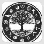 World Religions Peace Tree of Life Square Sticker