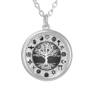 World Religions Tree of Life Round Pendant Necklace