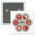 World Religious Peace 2 Inch Square Button