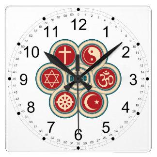 World Religious Peace Square Wall Clock