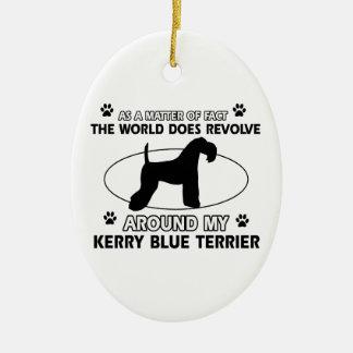 World revolves around my kerry blue terrier ceramic ornament