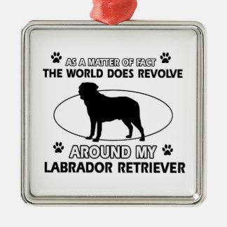 World revolves around my labrador retriever metal ornament