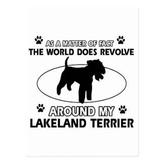 World revolves around my lakeland terrier postcard