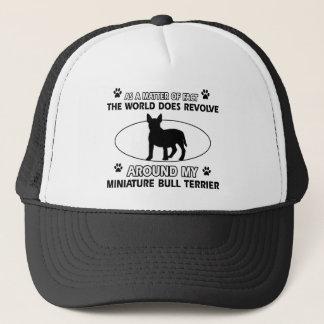 World revolves around my miniature bull terrier trucker hat