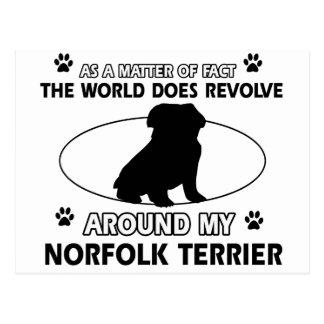 World revolves around my norfolk terrier postcard