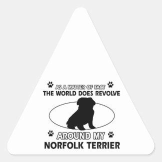 World revolves around my norfolk terrier triangle sticker
