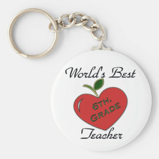 World s Best 6th Grade Teacher Key Chain