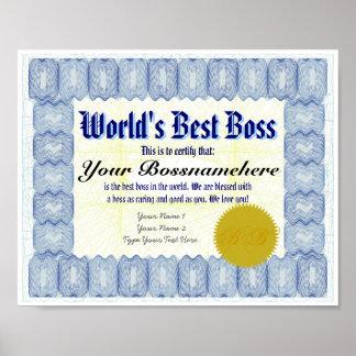 World s Best B oss Certificate Print