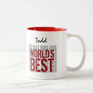 World s Best Boss Grunge Text Custom Name B22A Coffee Mugs