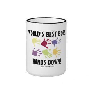 World s Best Boss Hands Down Coffee Mug