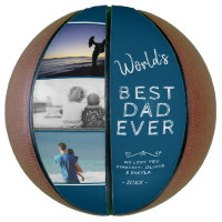 World`s Best Dad Blue Father`s Day Photo Collage Basketball