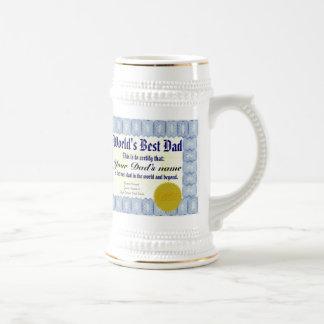 World s Best Dad Certificate Beer Stein Mug