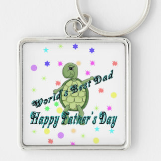 World's Best Dad Happy Father's Day Silver-Colored Square Keychain