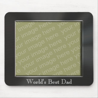 World s Best Dad Metal Look Photo Frame Mousepad Mouse Pad