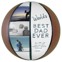 World`s Best Dad White Father`s Day Photo Collage Basketball