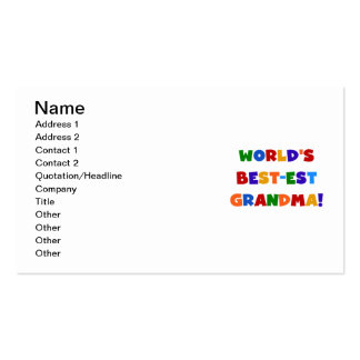 World s Best-est Grandma Bright T-shirts and Gifts Business Card Templates