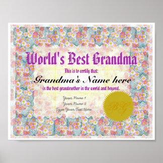 World s Best Grandma Award Certificate Print