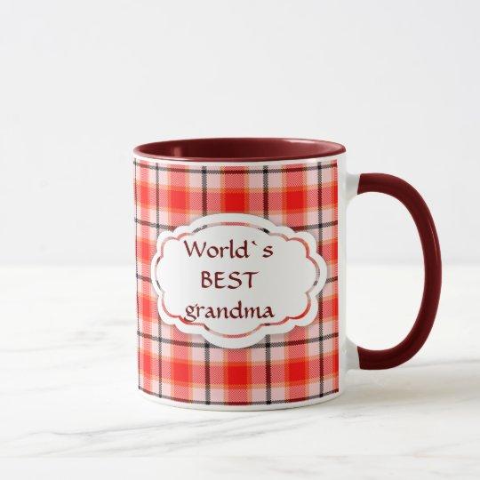 World`s best grandma Orange check tartan velvet Mug