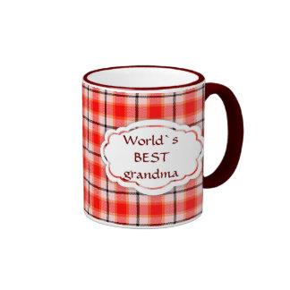 World`s best grandma Orange check tartan velvet Ringer Mug