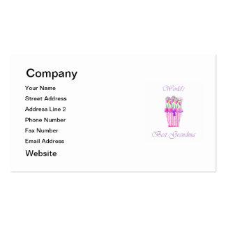 world s best grandma pink flowers business card
