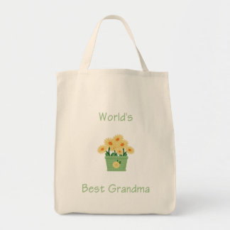 world s best grandma yellow flowers canvas bags