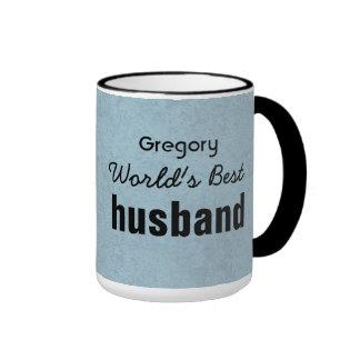 World s Best HUSBAND Blue Grunge Custom Name V3 Coffee Mug