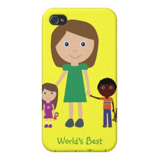 World s Best Kindergarten Teacher Cute Cartoon iPhone 4 Covers