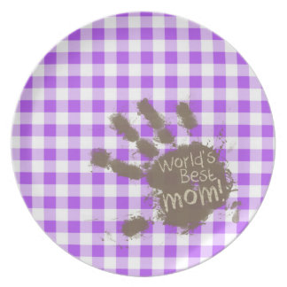 World s Best Mom Purple Checkered Gingham Party Plate