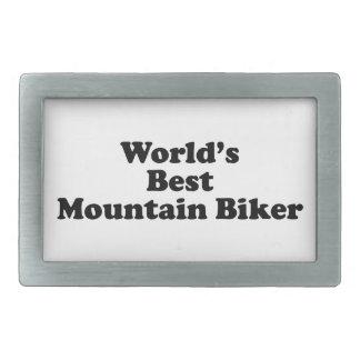 World s Best Mountain Biker Rectangular Belt Buckle