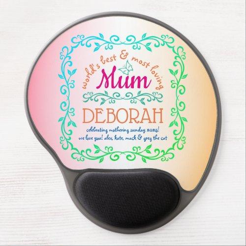 Worldâs Best Mum Mothering Sunday Botanical Logo Gel Mouse Pad