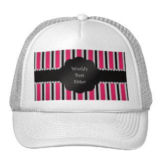 World s best sister pink black stripes trucker hats