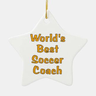 World s best soccer coach star ornament