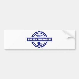 World's best speech therapist bumper sticker