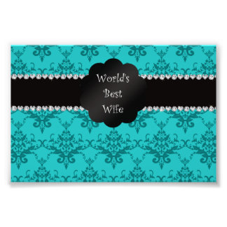 World s best wife turquoise damask photographic print