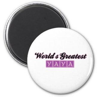 World' s el YaYa más grande (púrpura) Imán Redondo 5 Cm
