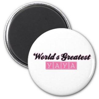 World' s el YaYa más grande (rosa) Imán Redondo 5 Cm
