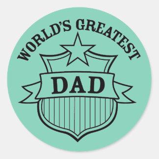 """world""""s greatest dad design classic round sticker"""