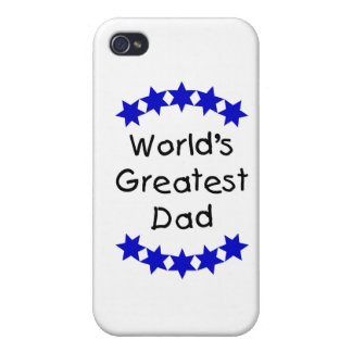 World s Greatest Dad dk blue stars Cases For iPhone 4