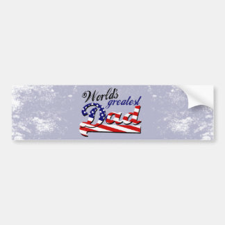World s greatest dad with American flag Bumper Stickers