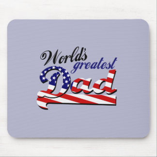World s greatest dad with American flag Mouse Pad
