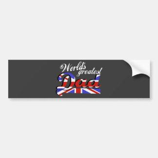 World s greatest dad with British flag - dark Bumper Sticker