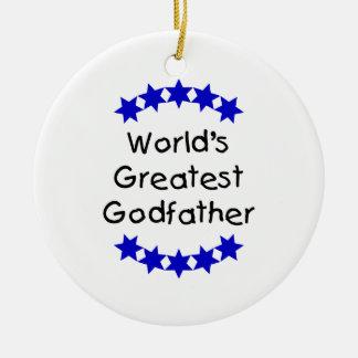 World s Greatest Godfather dk blue stars Christmas Ornaments